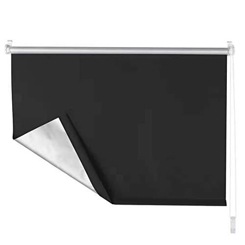 OBdeco Verdunkelungsrollo Klemmfix Thermo Rollo 75×160cm Schwarz ohne Bohren Silberbeschichtung Sichtschutz Seitenzugrollo für Fenster