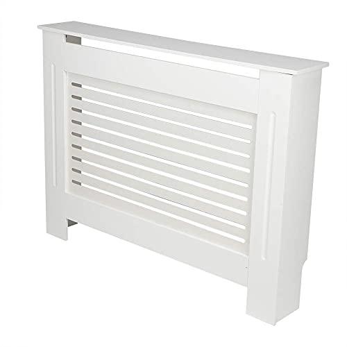 NZKW Cubierta de radiador, Cubierta de estantería Superior de gabinete de Madera MDF con Accesorios para el hogar de diseño de Listones, Color Blanco