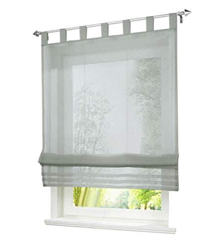 BAILEY JO 1er-Pack Raffrollo mit Schlaufen Gardinen Voile Transparent Vorhang (BxH 120x155cm, hell grau)