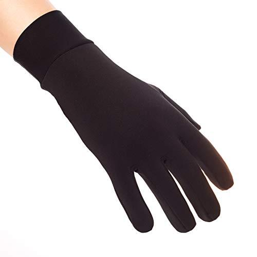Compression Lightweight Sport Running Gloves Liner Gloves- Black - Men & Women(S)