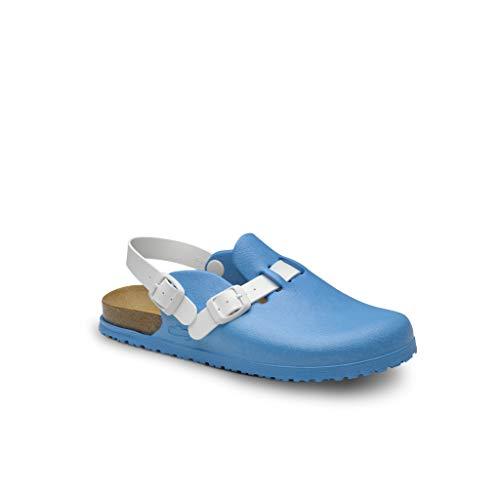 Feliz Caminar - Zueco Sanitario Flotantes Bio/con Correa Antideslizantes y Cómodos/Plantilla de corhco Anatomica (Blue 38)