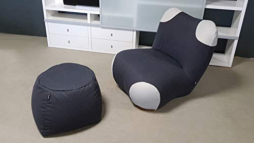 Möbel Akut Sessel Pouf Set Sitzkissen Hocker Pandabär Rolf Benz freistil 171 Schwarzgrau telegrau