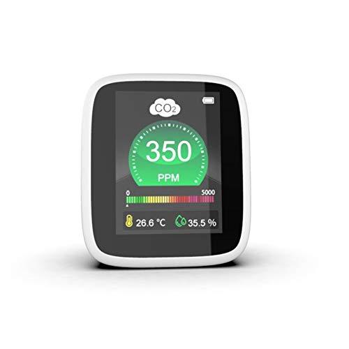 QHY Detector de dióxido de carbono CO2, pantalla a color para el hogar PM2.5, analizador de formaldehído, monitor de calidad del aire, monitoreo inteligente de inducción en tiempo real