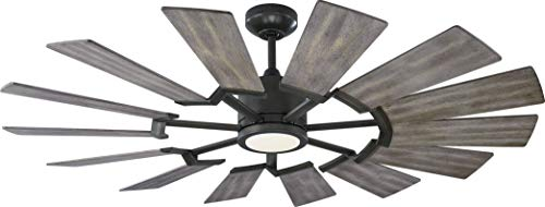 Monte Carlo 14PRR52AGPD Prairie II Windmill Energy Star 52' Outdoor Ceiling Fan with LED Light and Hand Remote Control, 14 Wood Blades, Aged Pewter