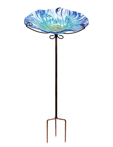 "MUMTOP 26"" Glass Birdbath Birdfeeder with Metal Stake Garden Outdoor Purple"