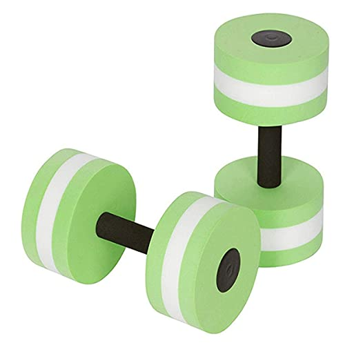 QIRU 1 Pair Foam Aquatic Exercise Dumbbells,Aquatic Exercise Dumbbells Set,Water Aerobic ExerciseFoam Dumbbells Pool Resistance Water Fitness Equipment for Weight Loss (Green)