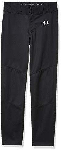 Under Armour Boys' Utility Relaxed Baseball Pants , Black (001)/White , Youth Medium