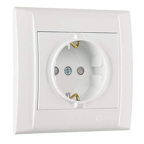 Defne Schuko-stopcontact met kinderbeveiliging + frame, VDE-gecertificeerd, inbouw met stekkerklem, in wit