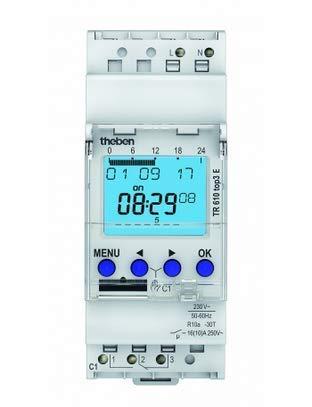 Theben 6100087 - TR610 Top 3 - Inerruptor horario Digital - 1 Canal - Carril DIN - 2 módulos