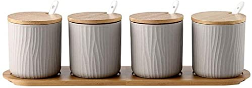 Juego de recipientes para condimentos de cerámica con tapa de cuchara de bambú y base-Grey_4 latas