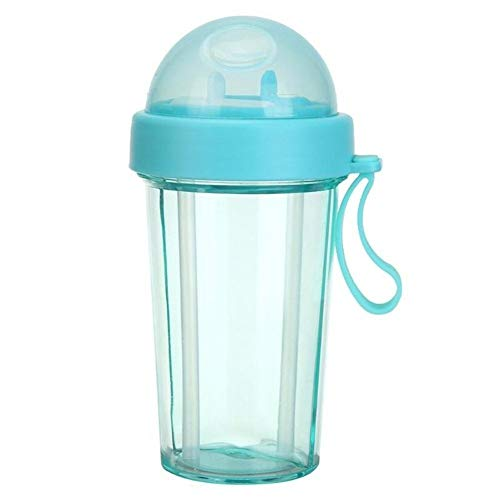 High Quality Cups Portable Dubbele Rietjes Water Bottle Travel Outdoor Leak Proof Dual-Use Cup (Color : Blue)