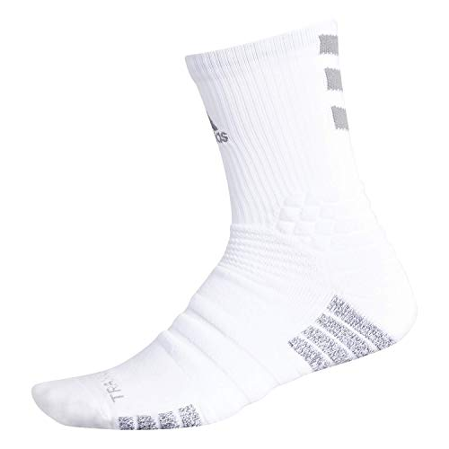 adidas Unisex-US Creator 365 Basketball Crew Socks (1-Pair), White/Light Onix, 9.5-12