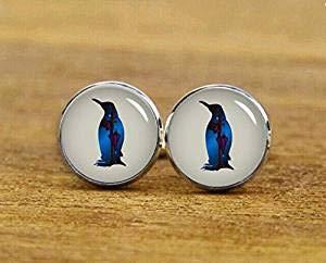 Pinguin-Manschettenknöpfe, Pinguin-Manschettenknöpfe, runde oder quadratische Manschettenknöpfe, Bräutigam Hochzeit, Schmuckgeschenk