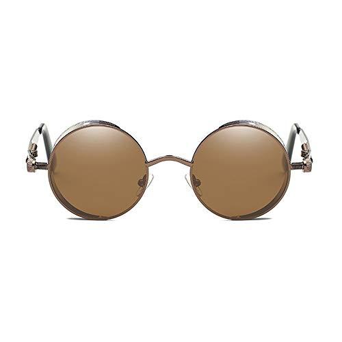 Kaper Go Gafas De Sol Clásico Steampunk Gafas De Sol Europa Y Los Estados Unidos Redondo Reflectante Retro Moda Unisex Protección UV400 Marco Marrón Lente Marrón