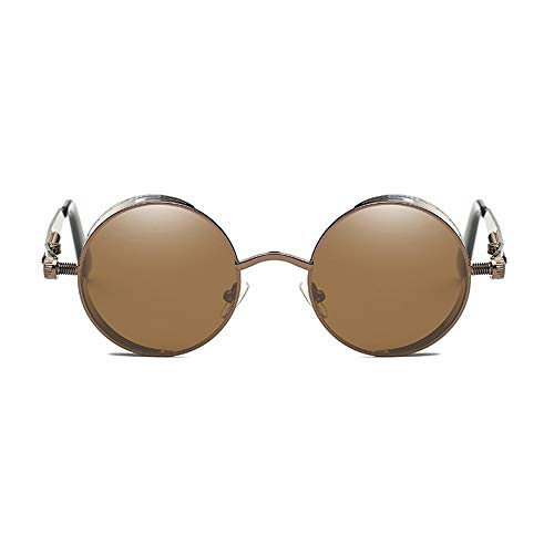 TYXL Sunglasses Gafas De Sol Clásicas Steampunk Europa Y Estados Unidos Gafas Redondas Reflectantes Moda Retro Unisex UV400 Protección Marrón Marco Marrón Lente