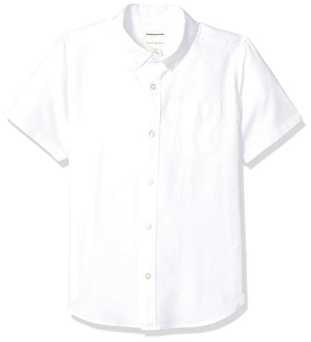 Amazon Essentials Uniform Oxford-Hemd für Jungen, Kurzarm, White, US M (EU 128 CM, H)