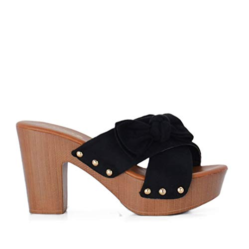 Altamoda Sandalia de Plataforma para Mujer Tacón de Madera Estilo Zuecos Negro