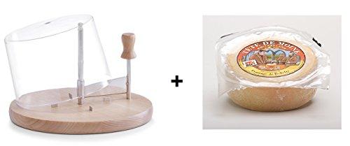 Gouda Käse Shop Cortador de Queso con Campana | Madera de Haya + Queso Tete de Moine +/-375Gramos
