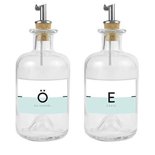Lifestyle Lover Ölivenöl und Essig Spender, Apotheker Glasflasche mit Ausgießer aus Edelstahl für Öl & Essig (Öl & Essig Weiß/Mint, 350ml)