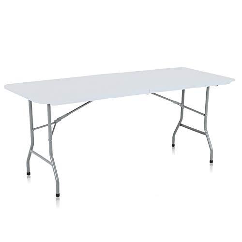 Strattore Table de Jardin Plastique Traiteur Pliante Table Buffet Picnic Plateau Camping Pliable avec Poignée - 180 x 70 x 74 cm en Blanc