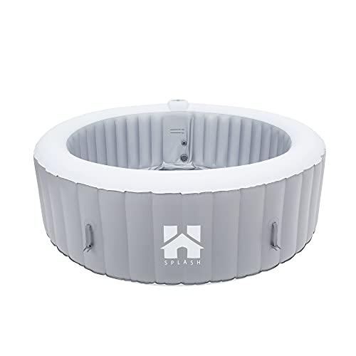 Home Deluxe - Outdoor Whirlpool aufblasbar Splash - Uni Grau - ⌀ 208 cm, Höhe 65 cm, 130 Luftdüsen - inkl. Abdeckung, Reparaturset, Filterset | Jacuzzi, Außen Whirlpool Wellnes Spa