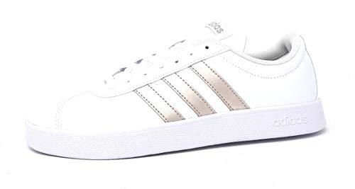 adidas Women's Vl Court 2.0 Skateboarding Shoes, White (Ftwr White/Platinum Met.), 7 UK