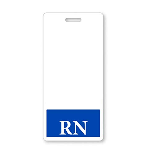 5 Pack - Vertical RN Badge Buddies for Nurses with Blue Border - Heavy Duty Spill Proof & Tear Resistant - Double Sided - Printed in USA - by Specialist ID