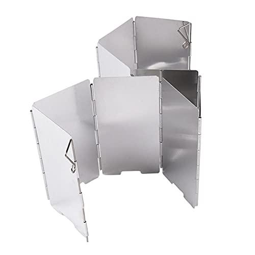 LieblingsAdi 9 placas fuerte viento escudo deflector plegable parabrisas protector al aire libre camping barbacoa picnic estufa estufa horno protección