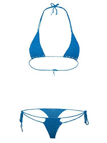 Zaldita Bikini para mujer conjunto brasileño halter sujetador traje de baño dos piezas traje de baño con cordones tanga traje de baño, Lago Azul, Talla única