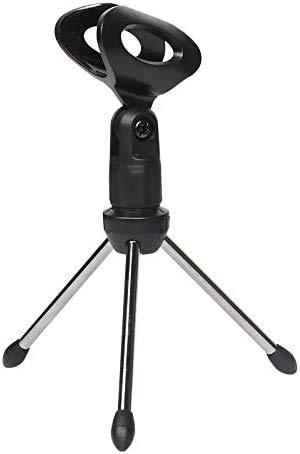 Depusheng Mini tapas de mesa portátiles, trípode para micrófono, aleación de zinc, soporte para micrófono, soporte para trípodes para micrófonos ajustables