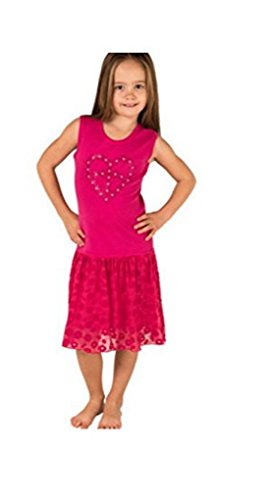 Mignone Girl's Dress with bright decorative flowers - PINK (3T, Pink)