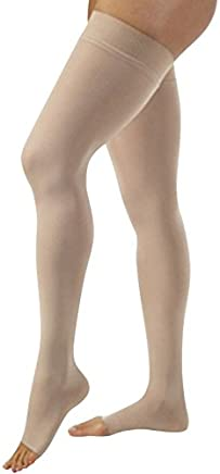 Jobst Relief 30-40 Thigh High Open Toe Beige Stockings with Silicone Band, X
