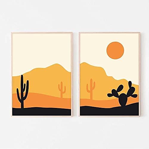 Desierto Cactus Amanecer Imágenes Naranja Medio siglo Naturaleza Paisaje Lienzo Pintura Arte de la pared Imágenes Decoración del hogar Sin marco40X60X2Pcs Sin marco