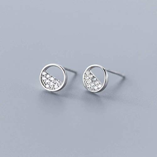 S&RL S925 Pendientes de Plata Pendientes de Diamantes Sencillos de Moda para Mujer, Estilo Dulce, Joyas Redondas Huecasplata, Plata 925
