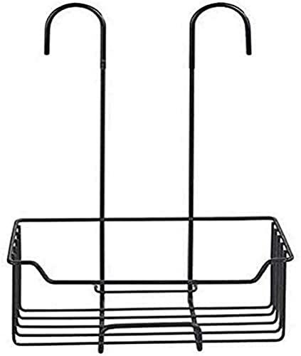 WENKO Etagère de douche Milo, Panier Douche à Suspendre, Acier Inox Noir, 25x36x14 cm