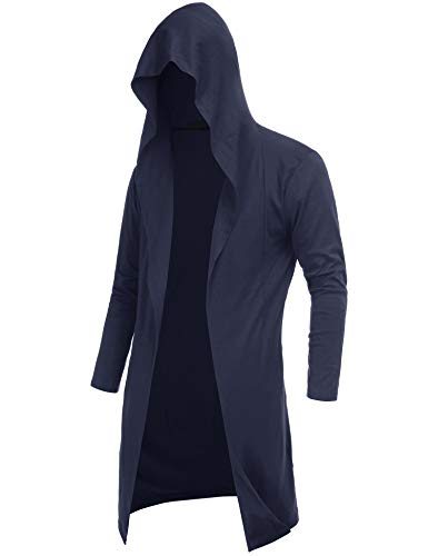 DOSWODE Mens Cardigan Long Open Front Draped Lightweight Hooded Sweater with Pockets Navy Blue_S