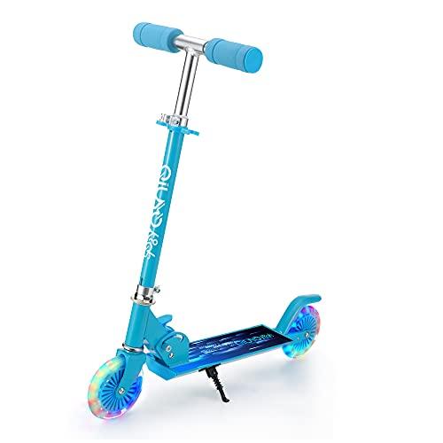 Monopattino per Bambini 2 LED Ruote Scooter da 3 a 12 Anni, Pieghevole & 3 Altezza Regolabile, per Ragazze e Ragazzi, Carico Massimo 100kg (Blu)