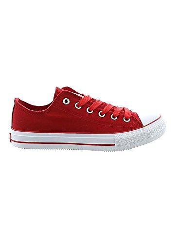 JUMEX Schuhe Herren Canvas Low Top Sneaker Freizeitschuhe JX-9023 Rot EUR 41