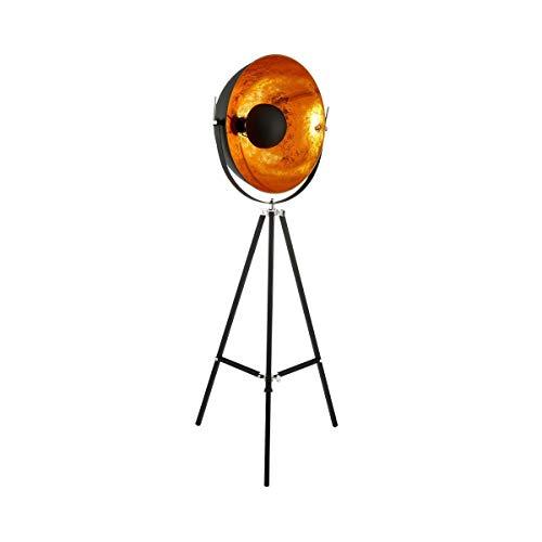 Butlers Satellight Standleuchte aus Metall 165x60 cm - Stehlampe in Schwarz-Gold - Lampe im Retro Factory-Design