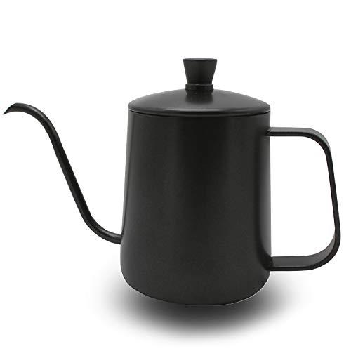 Bollitore per caffè con coperchio OneChois 350ml Teiera in acciaio inossidabile Teiera Bollitore per caffè Perfetto per l'uso di filtri per caffè e preparazione del tè (nero) (350ml)