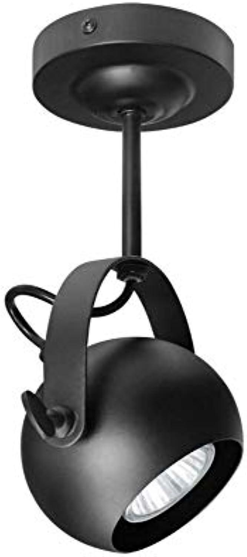 Retro Lichtretro Industrial Deckenstrahler Einzelverstellbarer Augapfel 180 Grad Schwarz Metall Finish M0073F