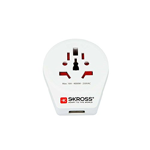SKROSS Länderstecker World to Europe USB Reiseadapter