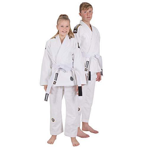 Tatami Kinder BJJ Gi Nova Absolut Weiß Brasilianischer Jiu Jitsu Uniform - Gratis Gürtel - Weiß, M4
