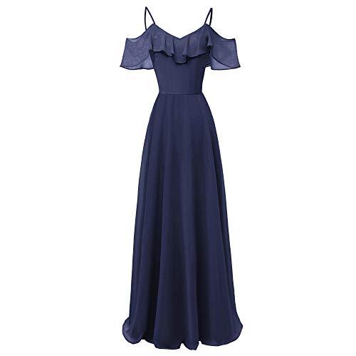DEATU Long Dress Women Vintage Princess Elegance Cocktail V-Neck Ladies Party Swing Sleeveless Long Dress(Navy,M)
