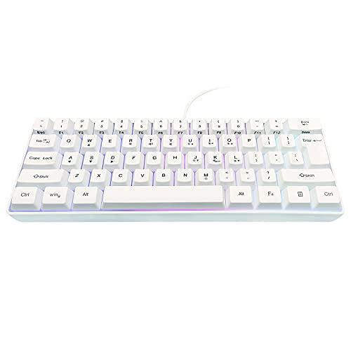 Snpurdiri 60% Wired Gaming Keyboard,RGB Backlit Ultra-Compact Mini Keyboard,Waterproof Mini Compact 61 Keys Keyboard, for PC/Mac Gamer, Typist, Travel, Easy to Carry on Business Trip(White)