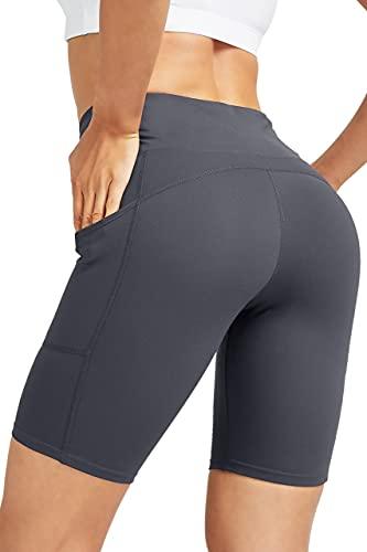 COOLOMG Damen Kurze Laufhose Yoga Shorts mit Taschen Radlerhose Sporthose Gym Fitness Workout Dunkelblau S