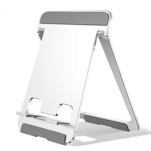 Newaner Soporte para Tableta de Aluminio Soporte Plegable Ajustable para teléfono Celular, Mesa, Compatible con iPad, MediaPad, iPhone, Otras tabletas 5 '-13', Kindle, Smartphone de 4 '- 8', Plateado