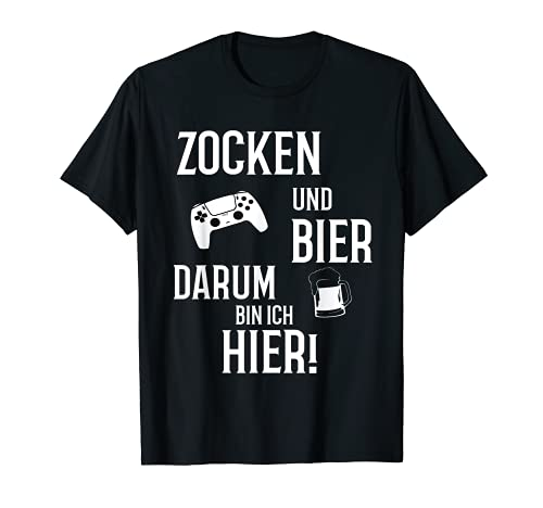 Gaming Zocken und Bier Konsole Kontroller Gamer T-Shirt