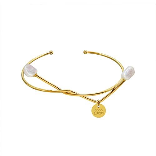 YJZW Open Cuff Bracelet, For Girlfriend Wife Mom, 18k Gold Plated Bracelets, Dainty Open Cuff Bangle Jewelry Gift