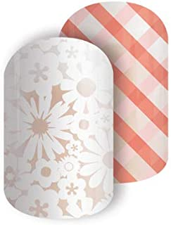 Jamberry Nail Wraps - Picnic Party - Full Sheet - Peach Plaid and White Flowers